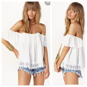 LOVERS + FRIENDS Life's a Beach Lace Top Small S